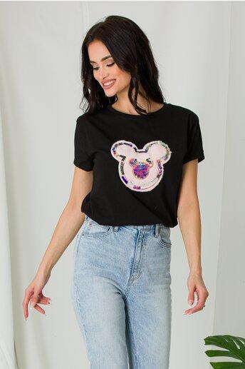 Tricou Mickey negru cu puf si paiete