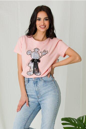 Tricou Mickey roz cu funda si imprimeu text