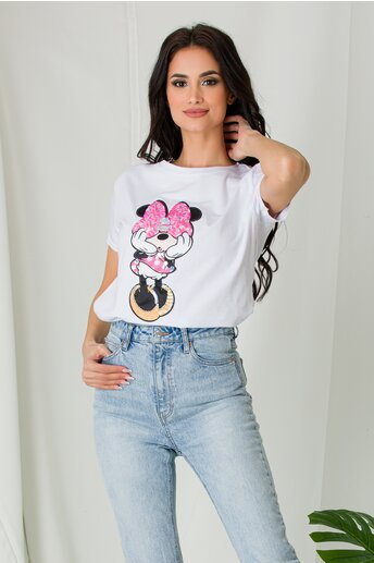 Tricou Minnie alb cu paiete