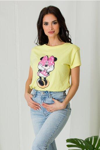 Tricou Minnie galben cu paiete