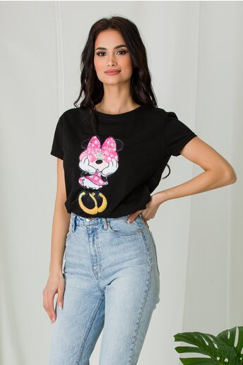 Tricou Minnie negru cu paiete