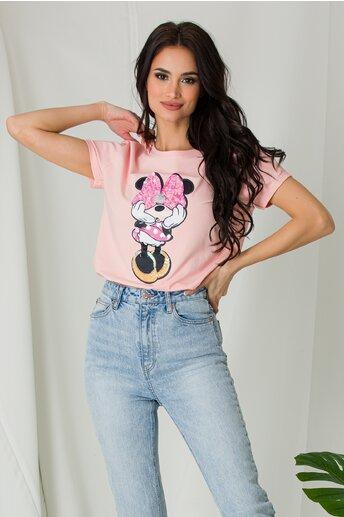Tricou Minnie roz cu paiete