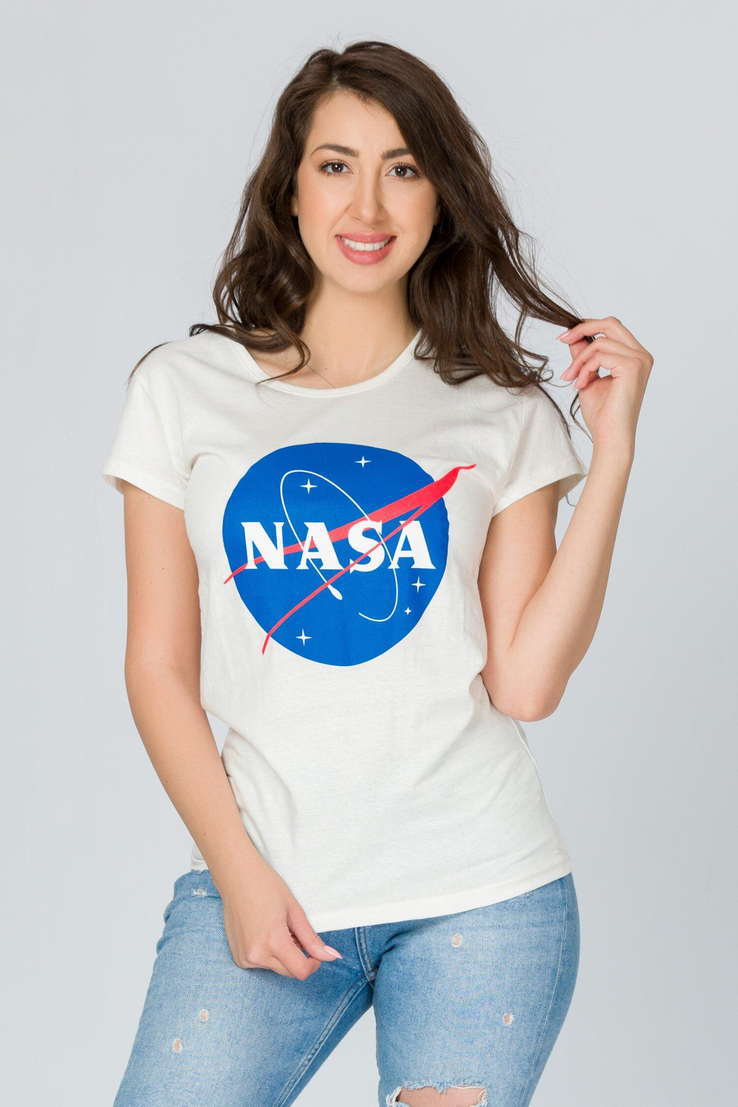 Tricou Nasa alb cu imprimeu