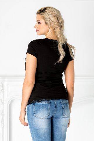 Tricou negru cu bufnita si perlute