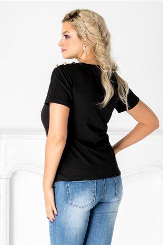 Tricou negru cu pisica si margelute