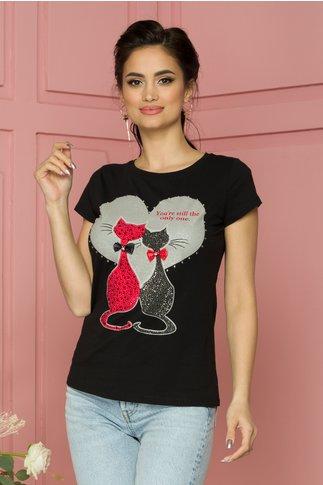 Tricou negru cu pisici in strasuri