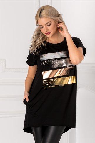 Tricou negru lejer cu mesaj pe fata