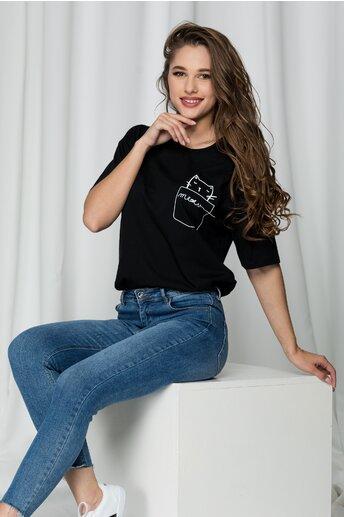 Tricou negru Meow lejer
