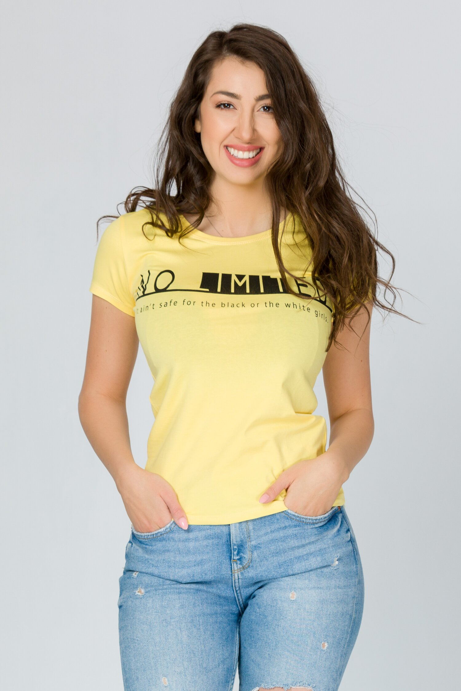 Tricou No Limit galben cu imprimeu text imagine