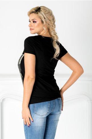 Tricou Oran negru cu imprimeu pe fata si paiete
