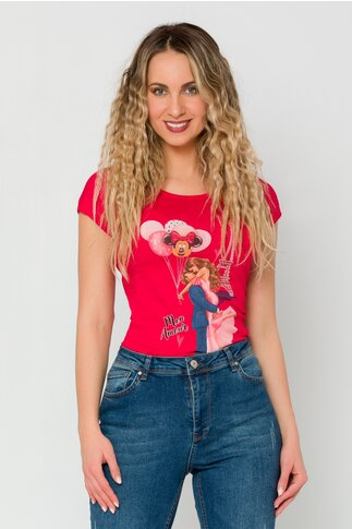 Tricou Paris rosu cu imprimeu