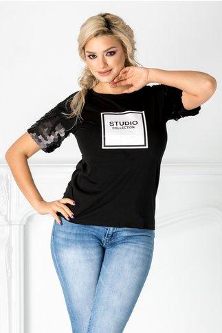 Tricou Parmy negru cu maneci din paiete