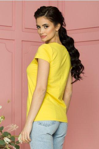 Tricou Rose galben cu imprimeu si aplicatii din margele si paiete