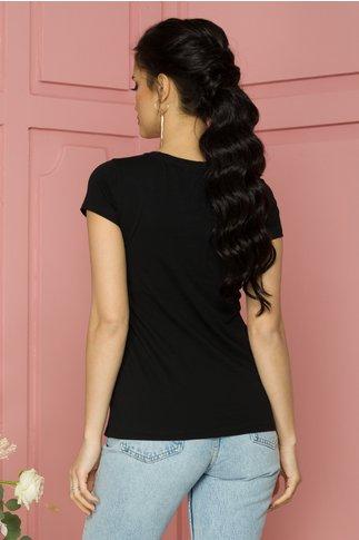 Tricou Rose negru cu imprimeu si aplicatii din margele si paiete