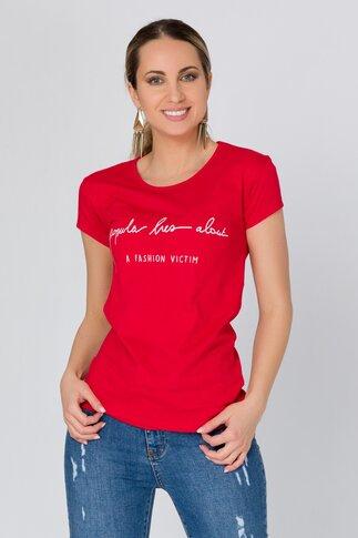 Tricou rosu cu imprimeu text