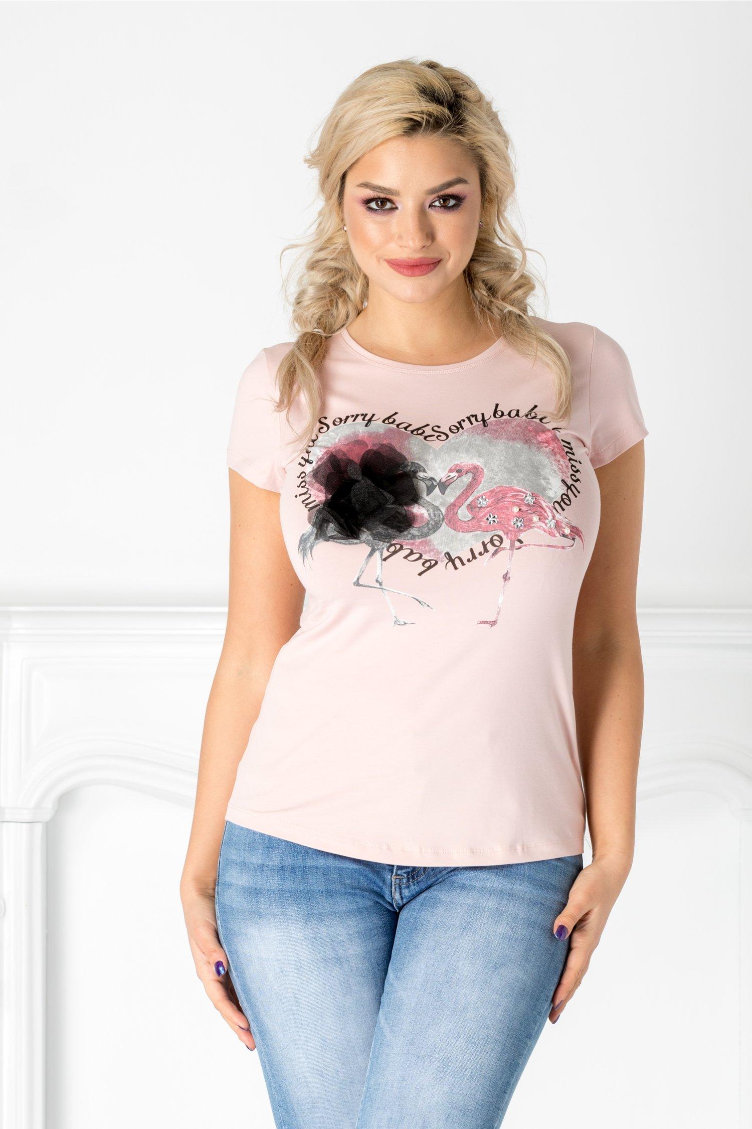 Tricou roz cu flamingo si floare 3D aplicata