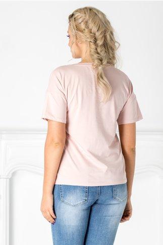 Tricou roz cu fundite din paiete reversibile