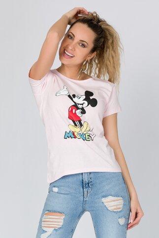 Tricou roz cu Mickey Mouse