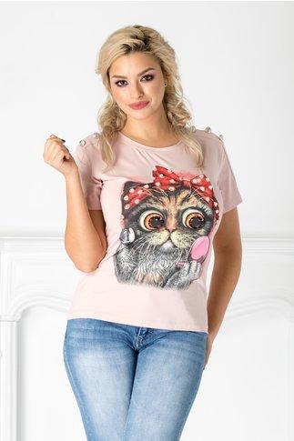 Tricou roz cu pisica si margelute