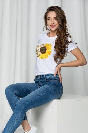 Tricou Sara alb cu imprimeu floarea soarelui