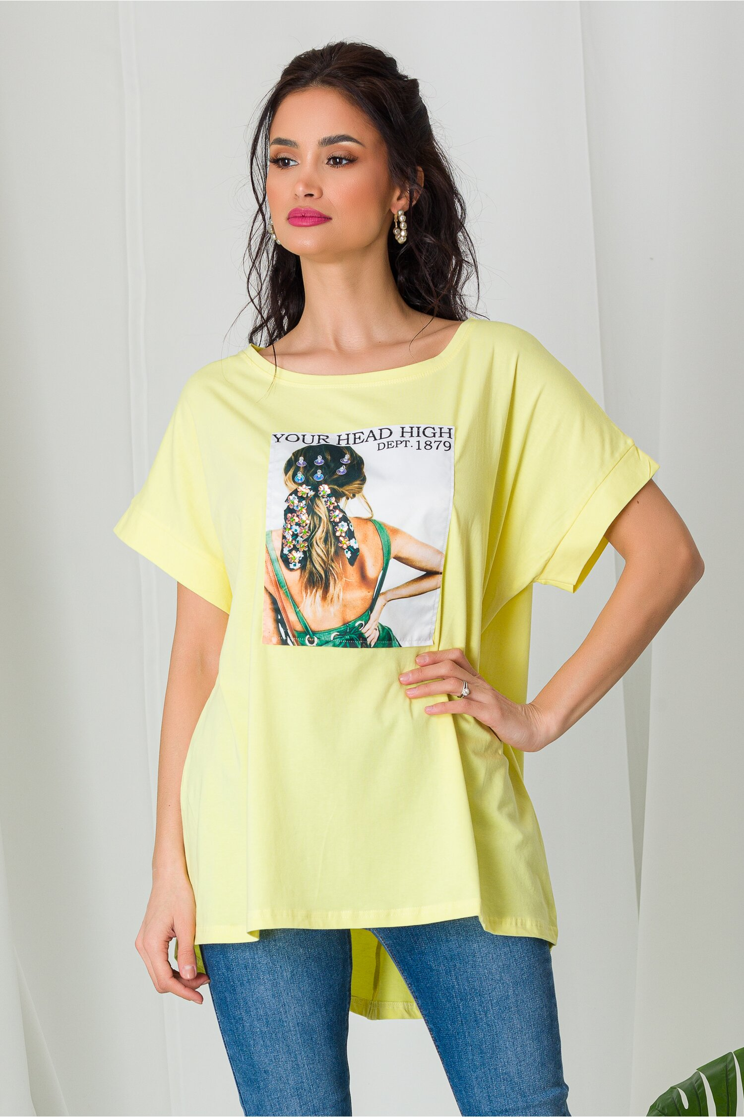 Tricou Tan Girl galben cu paiete