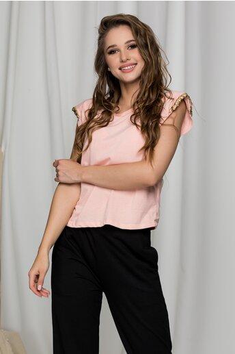 Tricou Tania roz cu accesorii aurii la maneci