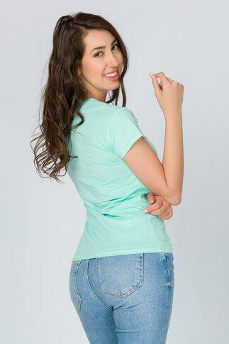 Tricou Tik Tok verde mint cu imprimeu