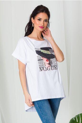 Tricou Vogue alb cu paiete