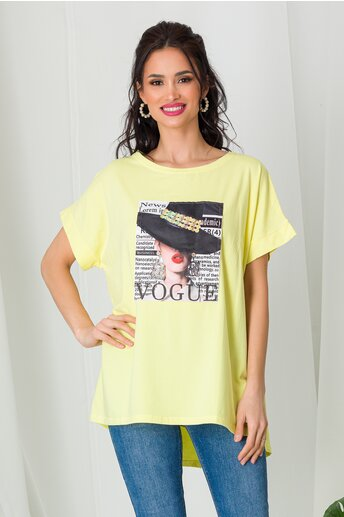 Tricou Vogue galben cu paiete