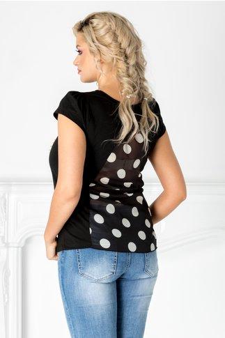 Tricou Vogue negru cu imprimeu fashion si perlute
