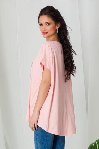 Tricou Vogue roz cu paiete