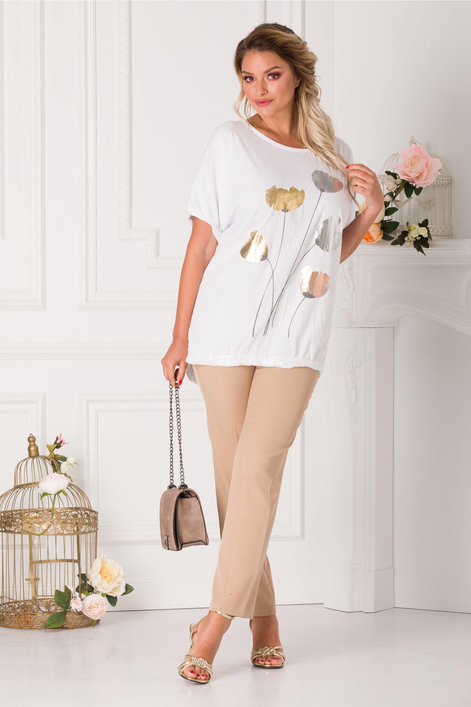 Tricou Yasmin alb cu imprimeu floral si detalii din paiete