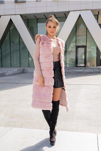 Vesta din blana roz cu lungime reglabila