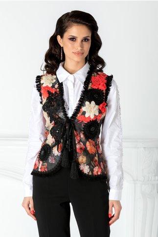 Vesta LaDonna cu imprimeu floral si broderie la bust