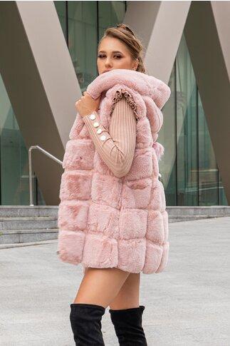 Vesta lunga din blana roz cu gluga