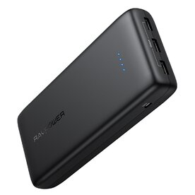 Baterie externa RavPower RP-PB064, 32000mAh, 3x USB,  iSmart, Negru