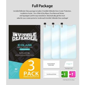 Folie sticla securizata iPhone Xs Max 9H 0,33 mm Ringke ID Glass (Set 3 bucati, 2+1 GRATIS)