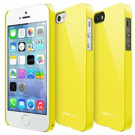 Husa iPhone 5/5s/SE Ringke Slim SF Yellow Logo Cut+BONUS folie protectie display