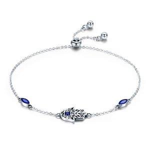 Bratara din argint 925 Blue Crystal Hamsa