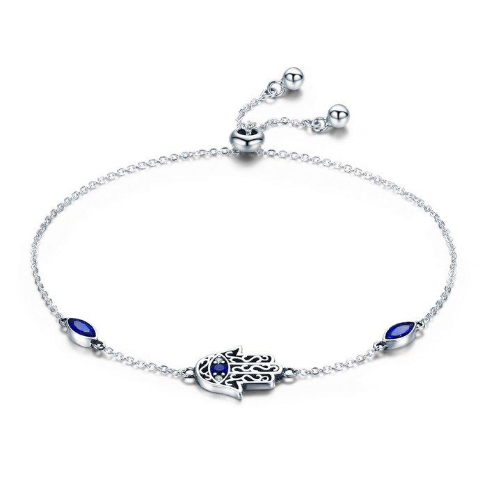 Bratara din argint 925 Blue Crystal Hamsa poza 2021