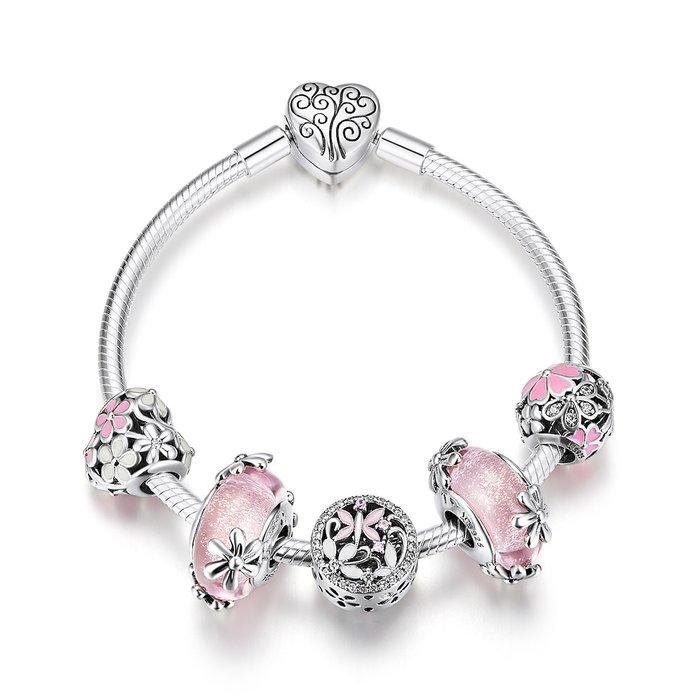Bratara din argint 925 Garden Pink Daisy poza 2021