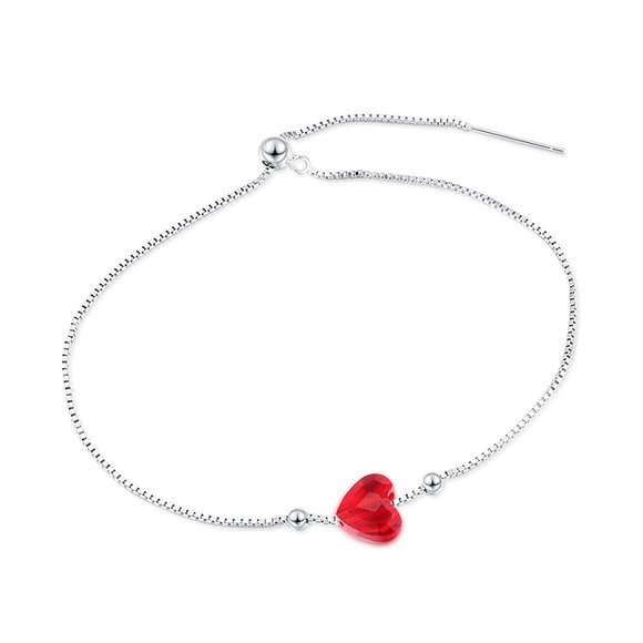 Bratara din argint cu cristal Swarovski Light Siam Crystal Heart