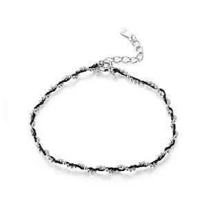 Bratara din argint cu snur Black Beads