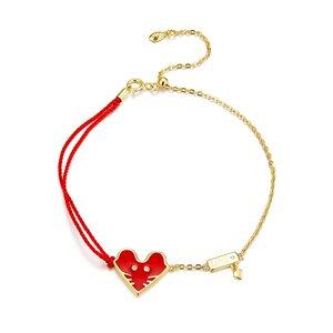 Bratara din argint cu snur Golden Red Heart