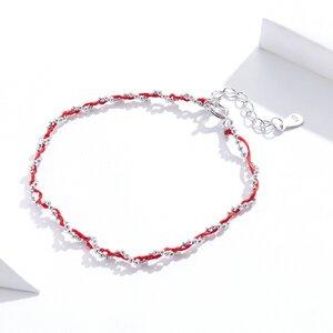 Bratara din argint cu snur Red Beads