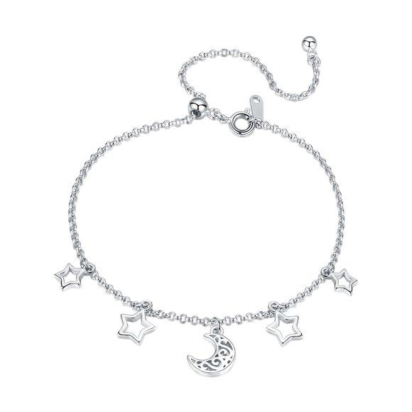 Bratara din argint Moon and Stars Chain