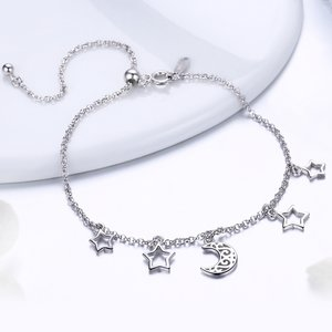 Bratara din argint Moon and Stars Chain