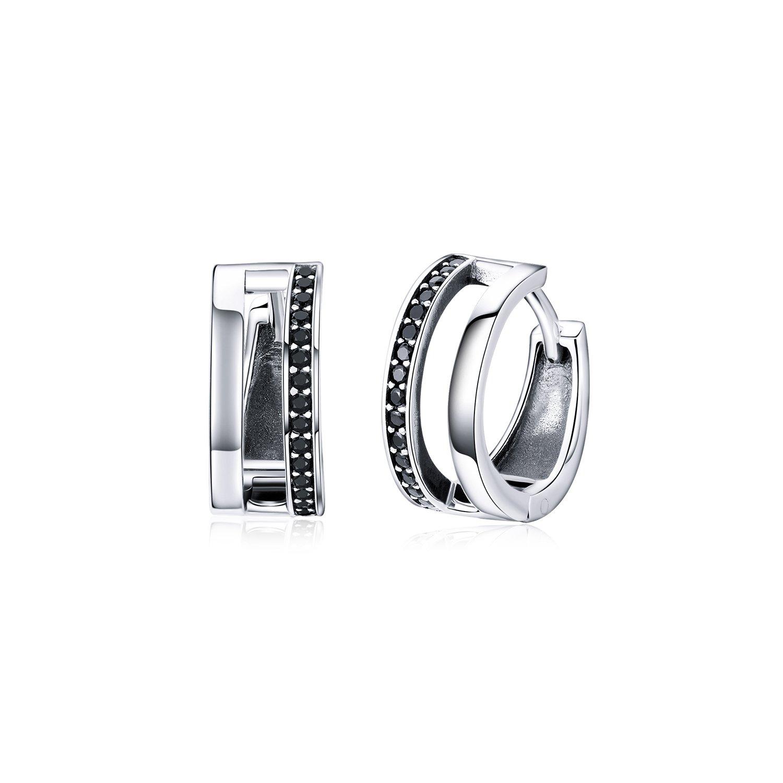 cercei din argint black circle hoops 67929 4