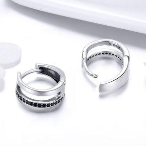 Cercei din argint Black Circle Hoops