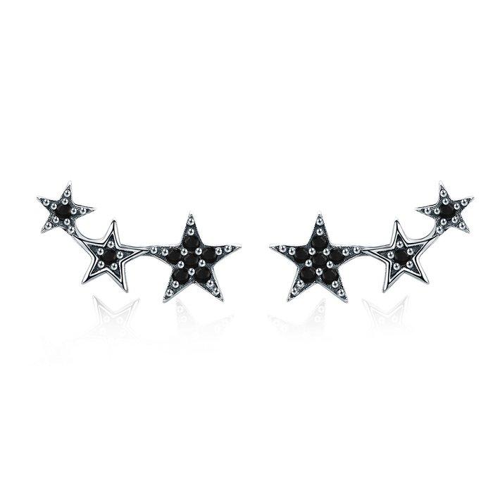 Cercei din argint Black Stars poza 2021
